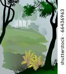 abstract asian rain forest view   Shutterstock .eps vector #66436963