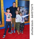 "Small photo of LOS ANGELES, CA. December 3, 2016: Writer/director Garth Jennings & sons at the world premiere of ""Sing"" at the Microsoft Theatre LA Live."