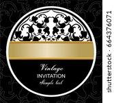 vector vintage border frame... | Shutterstock .eps vector #664376071