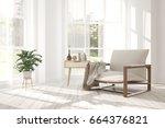 idea of white minimalist room... | Shutterstock . vector #664376821