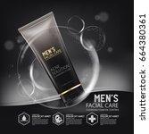 natural cleansing foam skin... | Shutterstock .eps vector #664380361