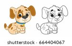 Stock vector cute cartoon puppy funny dog vector illustration for kids illustration with black outline 664404067