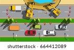 road under construction top...   Shutterstock .eps vector #664412089