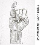 pinkie scratch finger | Shutterstock .eps vector #664418011