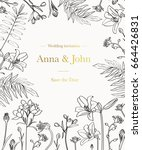 wedding invitation with graphic ... | Shutterstock .eps vector #664426831