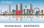 manchester skyline with gray... | Shutterstock . vector #664436431