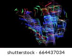 color ray trajectory | Shutterstock . vector #664437034