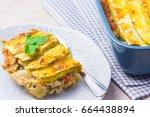 Stock photo  zucchini lasagna in a baking dish healthy vegetable lasagna 664438894