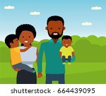 happy african family in the... | Shutterstock .eps vector #664439095
