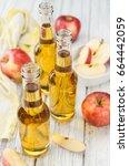 apple cider on a vintage... | Shutterstock . vector #664442059