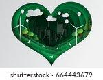 paper art style of heart green... | Shutterstock .eps vector #664443679