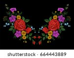 rose flower embroidery texture... | Shutterstock .eps vector #664443889