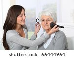 young woman helping old woman... | Shutterstock . vector #66444964