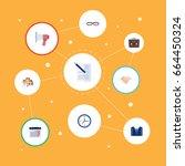 flat icons calendar  handshake  ... | Shutterstock .eps vector #664450324