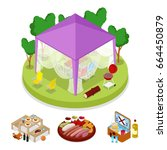 isometric bbq picnic party in... | Shutterstock .eps vector #664450879