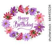 wildflower kosmeya flower frame ... | Shutterstock . vector #664453234