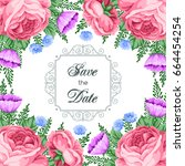 save the date card template...   Shutterstock .eps vector #664454254