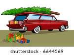 station wagon with christmas... | Shutterstock . vector #6644569