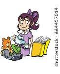girl tea party | Shutterstock .eps vector #664457014