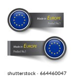 flag icon and label with text... | Shutterstock .eps vector #664460047