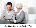 elderly woman with young man... | Shutterstock . vector #66446206