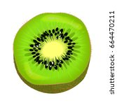 fresh kiwi fruit half isolated...   Shutterstock .eps vector #664470211