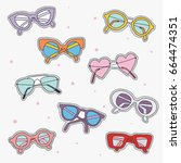 set of sunglasses fashion patch ...   Shutterstock .eps vector #664474351