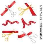 ribbon and scissors   realistic ...   Shutterstock .eps vector #664476871