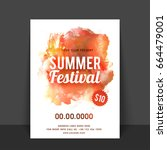 summer festival flyer  template ... | Shutterstock .eps vector #664479001