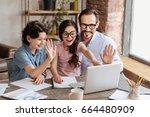 overjoyed single parent family... | Shutterstock . vector #664480909