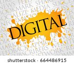 digital word cloud  technology...   Shutterstock . vector #664486915