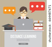 distance learning. online study ... | Shutterstock .eps vector #664487671