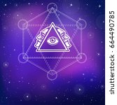 mystical image of a pyramid ... | Shutterstock .eps vector #664490785