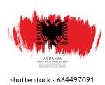 flag of albania  brush stroke...