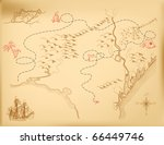 an old map of the island ... | Shutterstock .eps vector #66449746