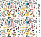 stunning seamless pattern with... | Shutterstock .eps vector #664499509