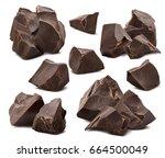 broken chocolate pieces... | Shutterstock . vector #664500049