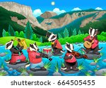 group of funny badgers are... | Shutterstock .eps vector #664505455