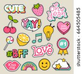 Stock vector set of fashion patches cute pastel badges fun cartoon icons design vector 664505485