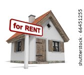 """house with """"for rent"""" sign  ... 
