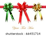 Ribbon bow on white space for message - stock photo