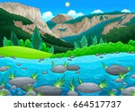 mountain landscape with lake.... | Shutterstock .eps vector #664517737