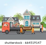 couple moving into new house ... | Shutterstock .eps vector #664519147