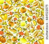 vector fruits and vegetables on ... | Shutterstock .eps vector #664522075