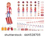 Tourist female, vacation traveller character creation set. Full length, views, emotions, gestures, tan skin tones, white background. Build your own design. Cartoon flat-style infographic illustration | Shutterstock vector #664528705