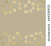 floral background. gold flowers ... | Shutterstock .eps vector #664530925