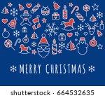 digital vector red blue happy... | Shutterstock .eps vector #664532635