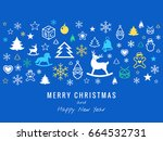 digital vector blue happy new... | Shutterstock .eps vector #664532731