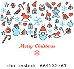 digital vector red blue happy... | Shutterstock .eps vector #664532761