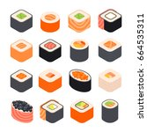 sushi rolls vector collection...   Shutterstock .eps vector #664535311